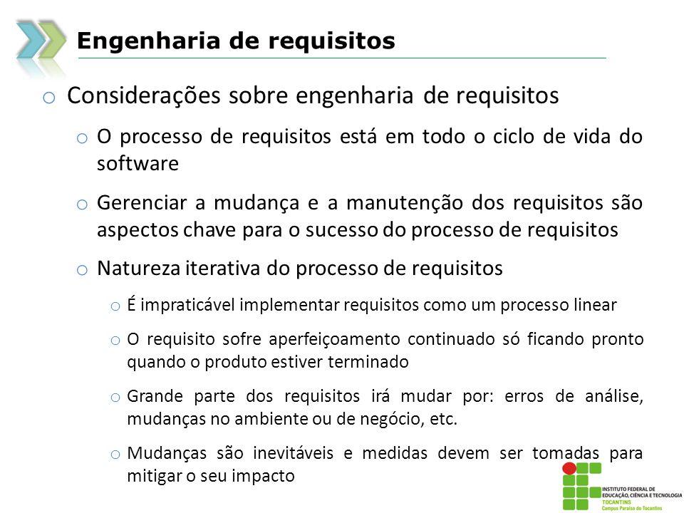 Considerações sobre engenharia de requisitos