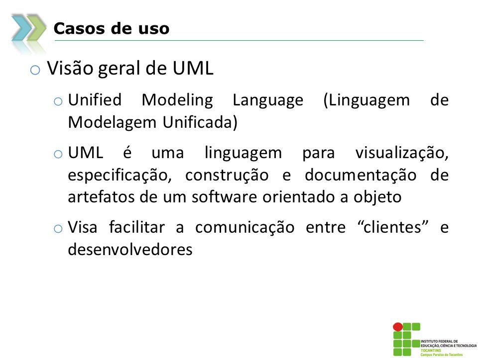 Casos de uso Visão geral de UML. Unified Modeling Language (Linguagem de Modelagem Unificada)