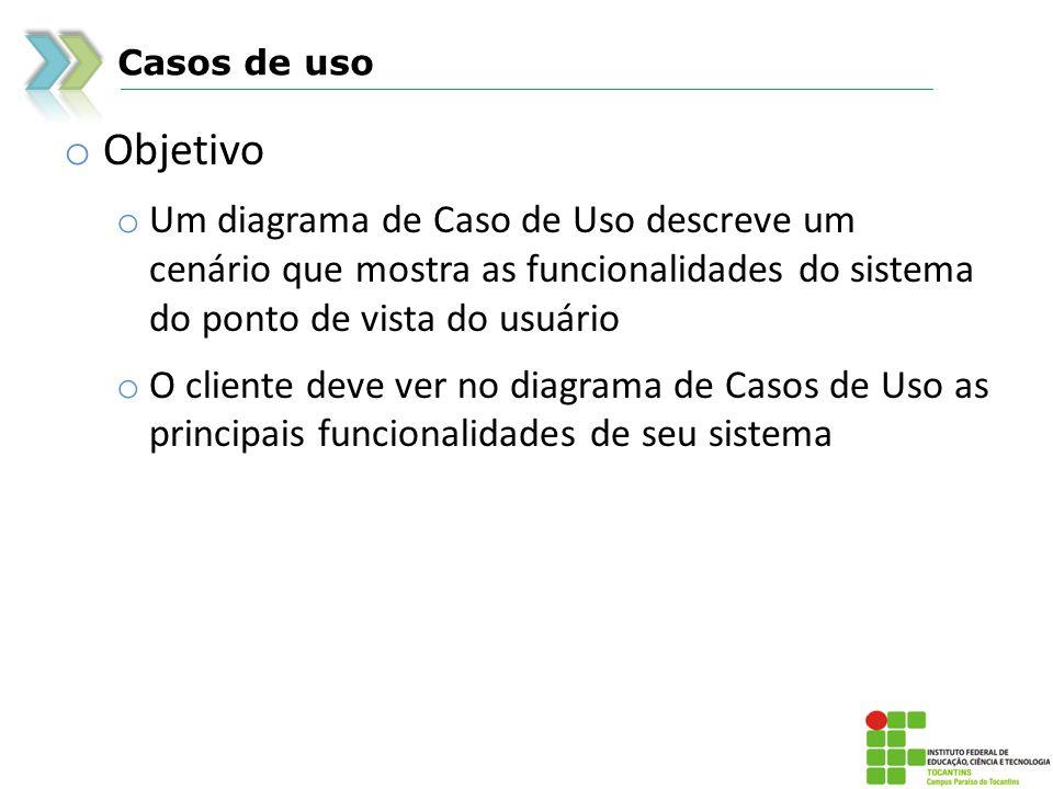 Casos de usoObjetivo. Um diagrama de Caso de Uso descreve um cenário que mostra as funcionalidades do sistema do ponto de vista do usuário.