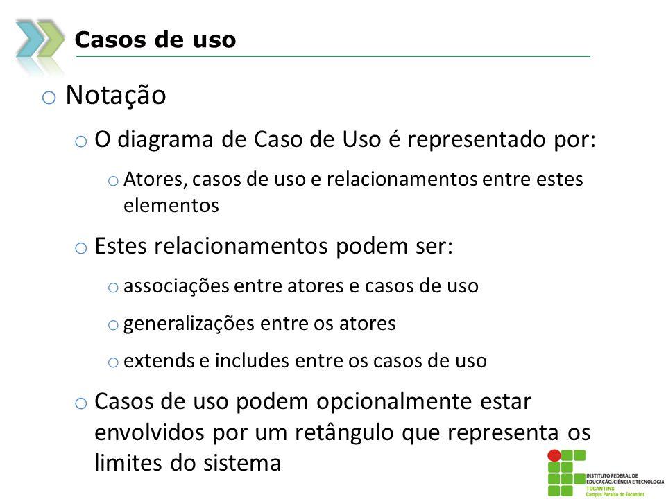 Notação O diagrama de Caso de Uso é representado por: