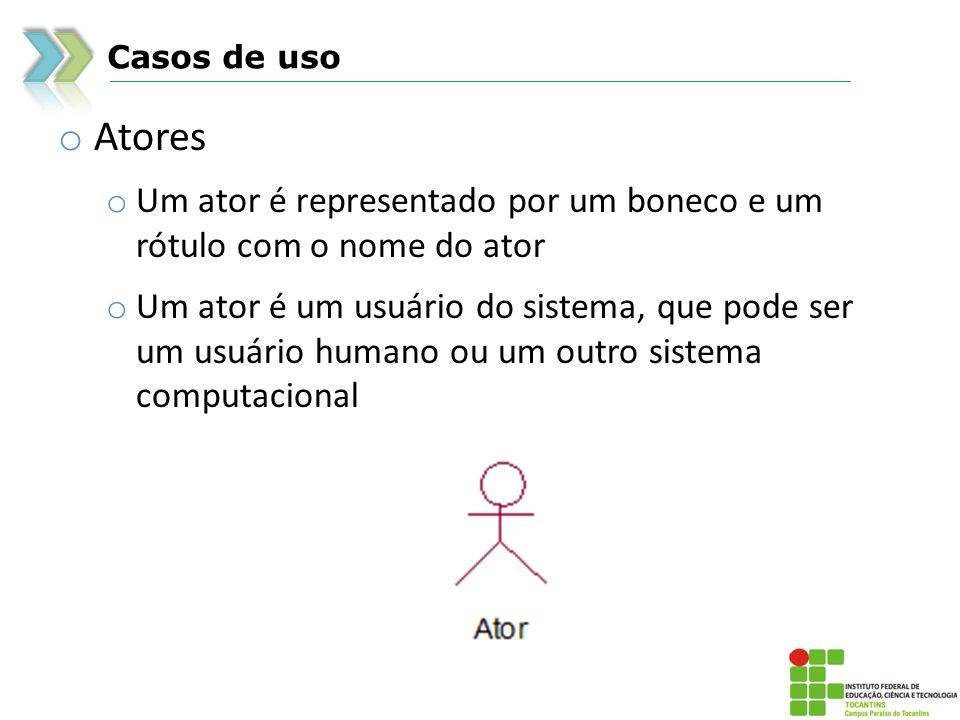 Casos de uso Atores. Um ator é representado por um boneco e um rótulo com o nome do ator.
