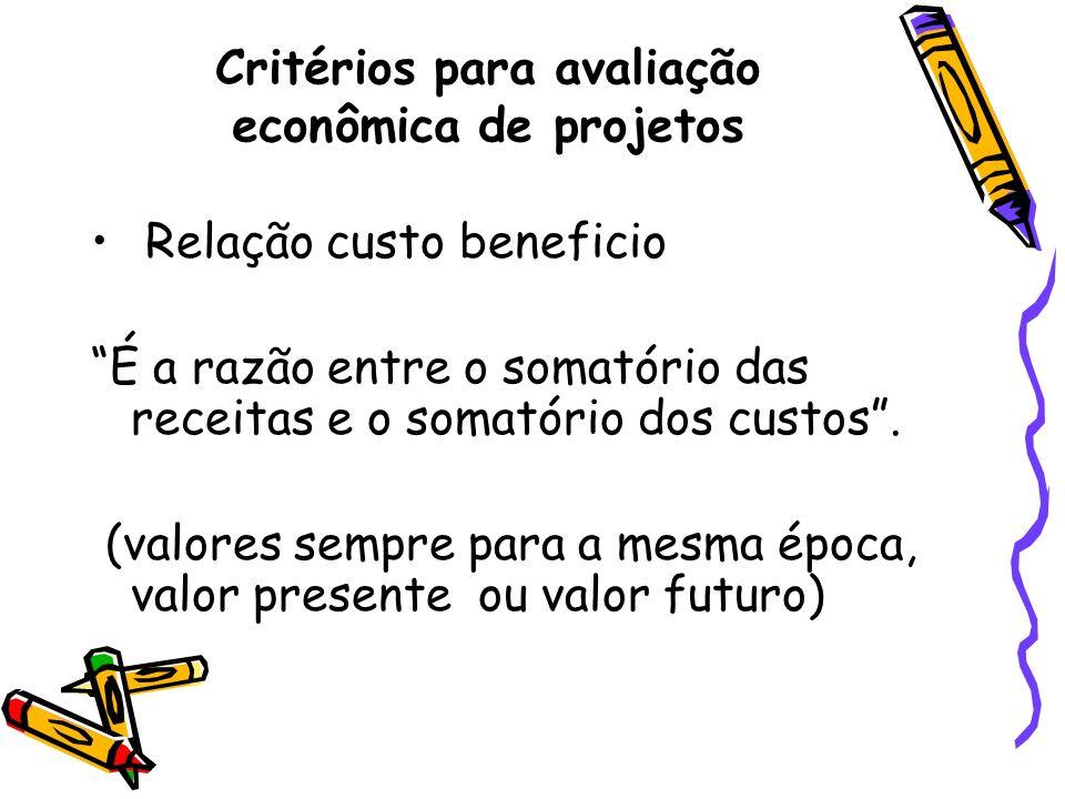 Critérios para avaliação econômica de projetos