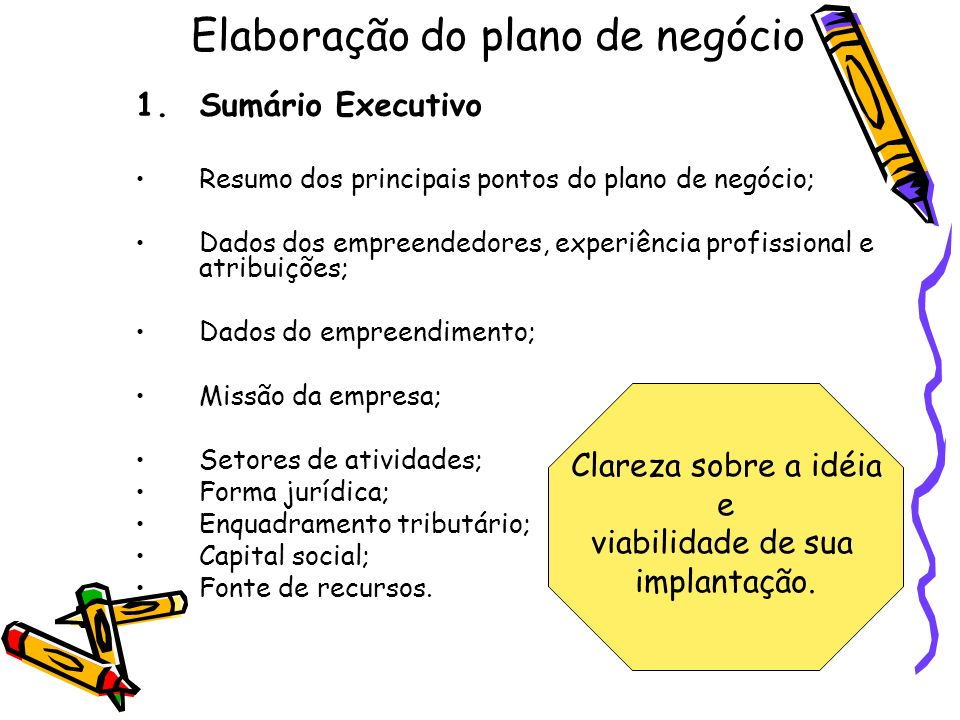 Elaboração do plano de negócio