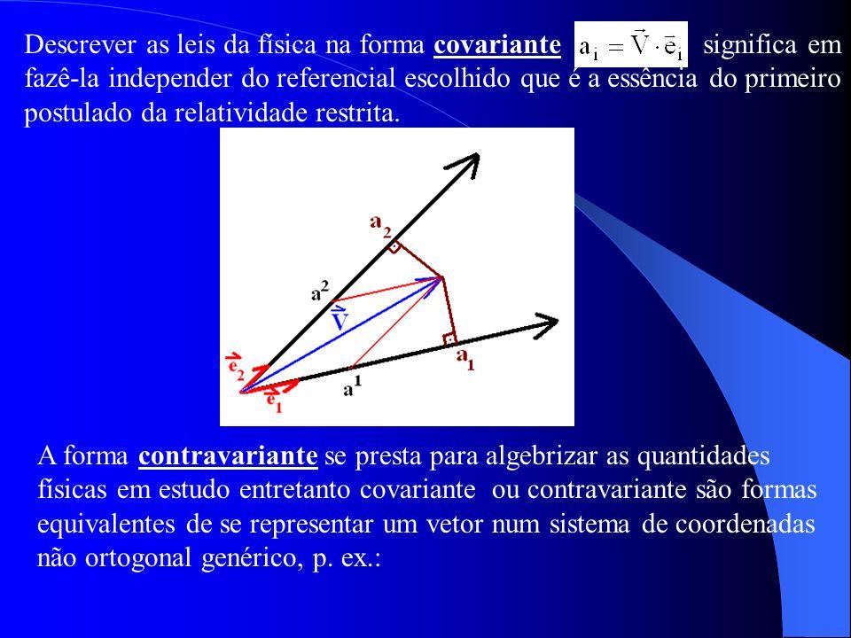 Descrever as leis da física na forma covariante significa em