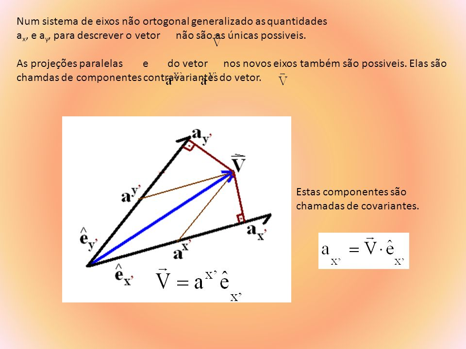 Num sistema de eixos não ortogonal generalizado as quantidades