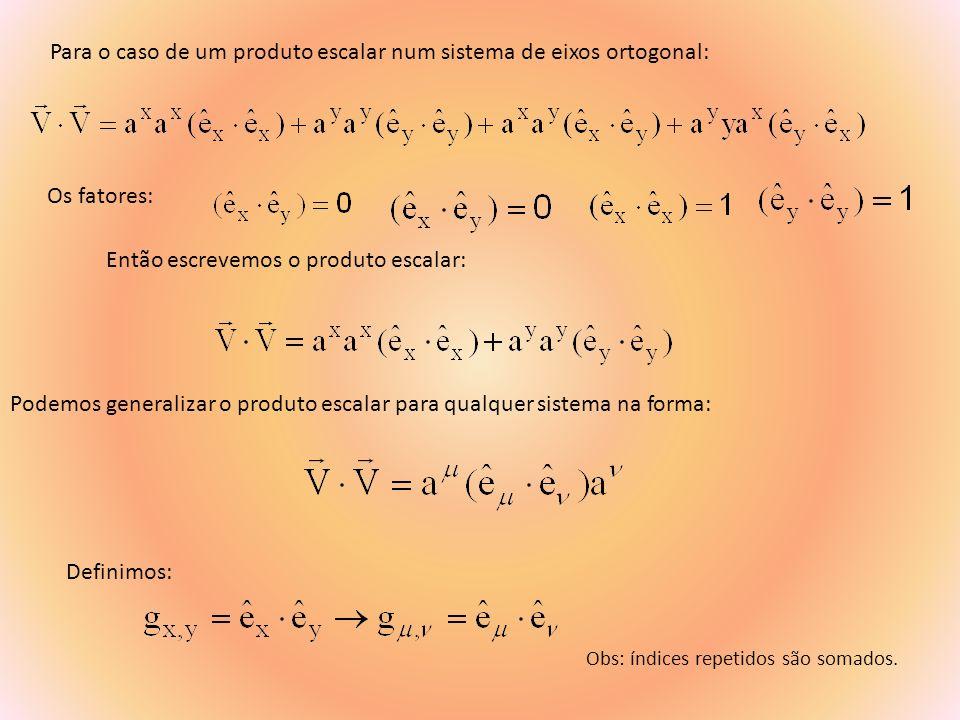 Para o caso de um produto escalar num sistema de eixos ortogonal: