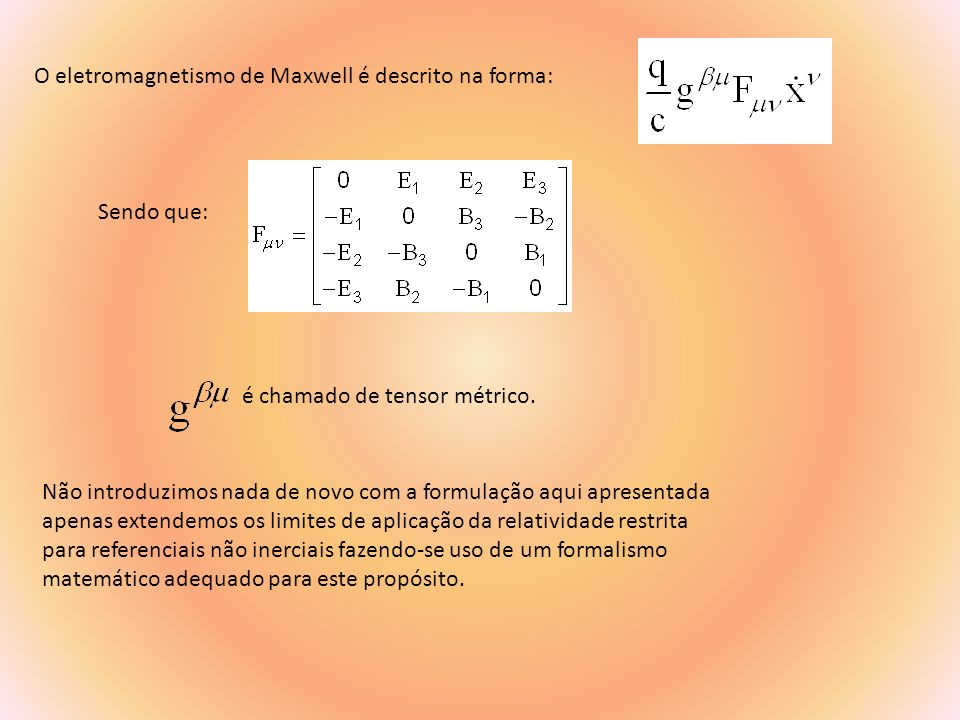 O eletromagnetismo de Maxwell é descrito na forma: