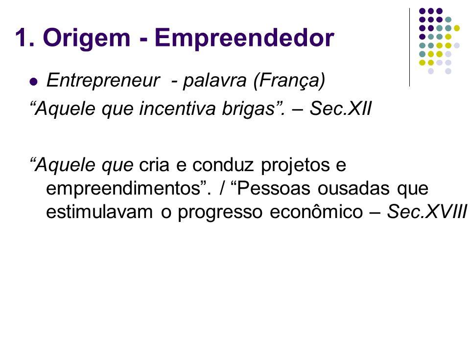 1. Origem - Empreendedor Entrepreneur - palavra (França)