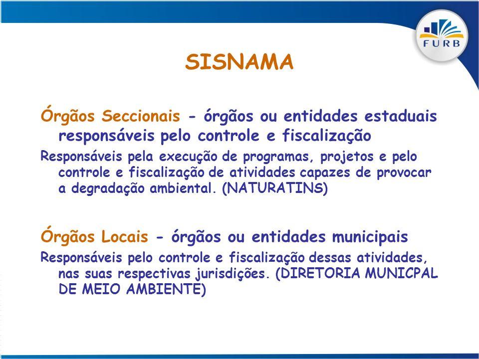 SISNAMA Órgãos Seccionais - órgãos ou entidades estaduais responsáveis pelo controle e fiscalização.