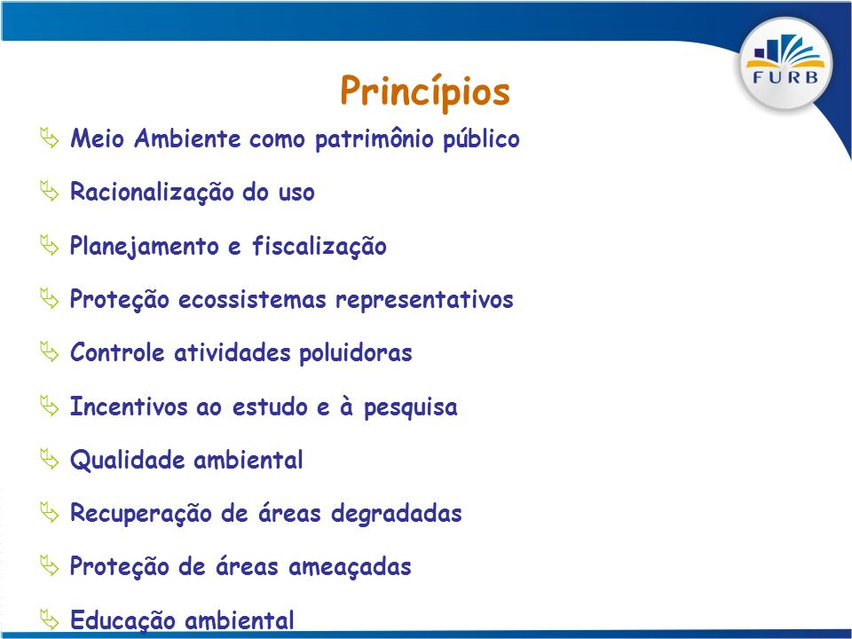 Princípios Meio Ambiente como patrimônio público Racionalização do uso