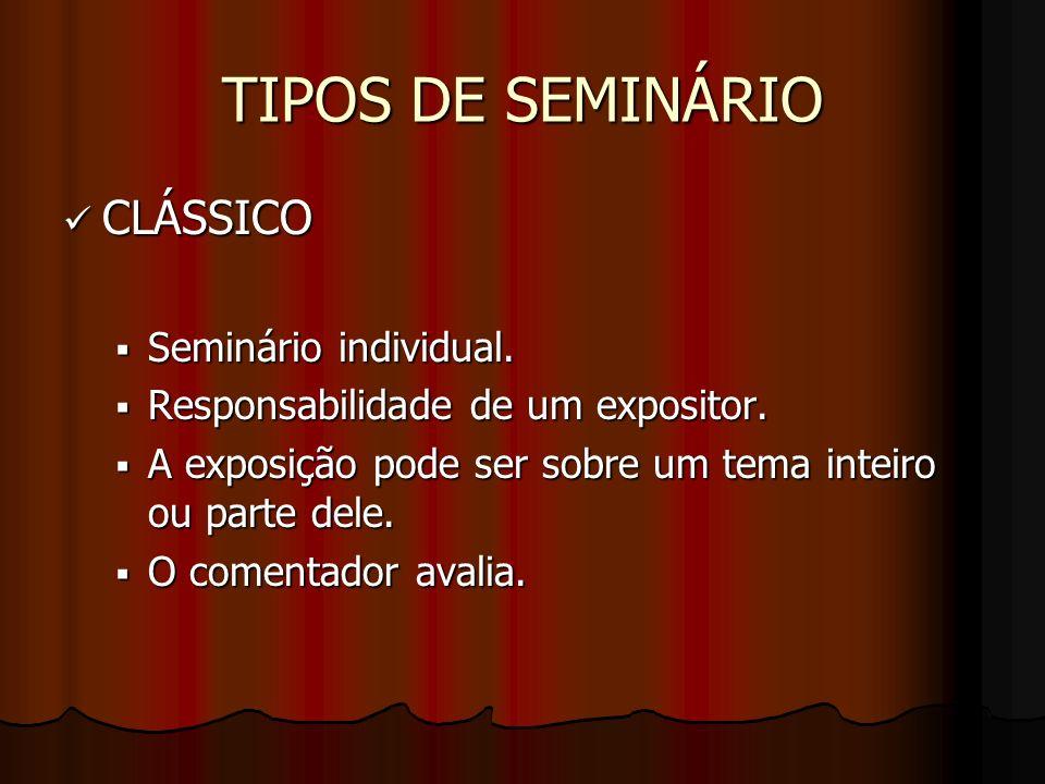 TIPOS DE SEMINÁRIO CLÁSSICO Seminário individual.