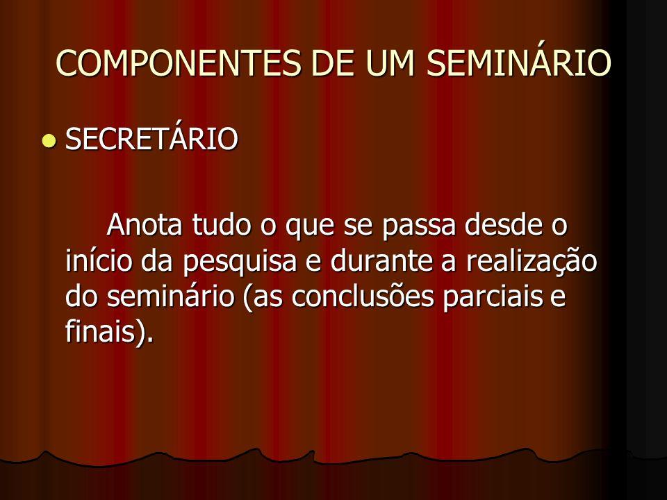 COMPONENTES DE UM SEMINÁRIO