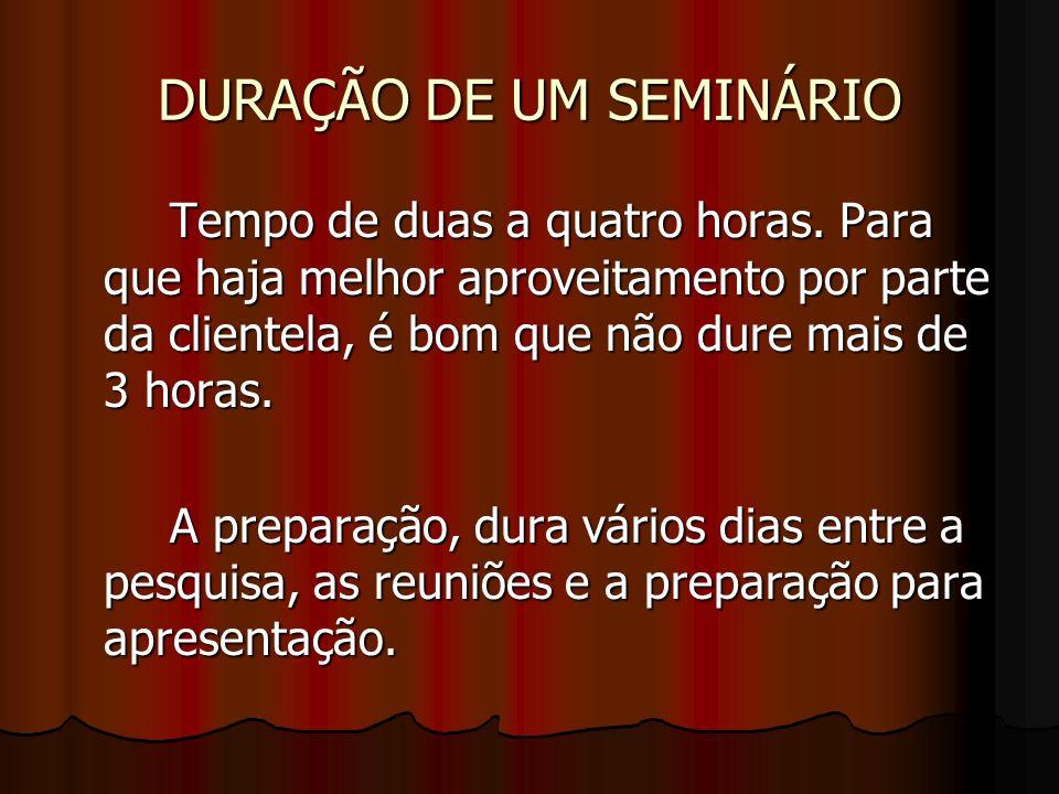 DURAÇÃO DE UM SEMINÁRIO