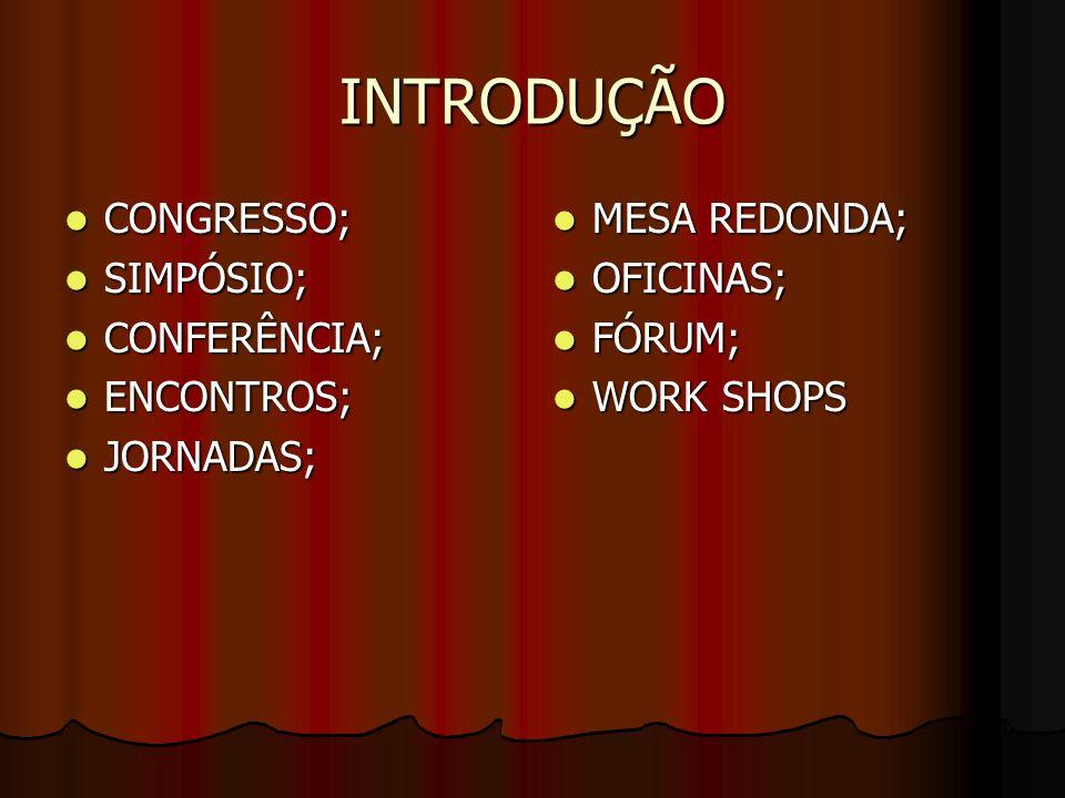 INTRODUÇÃO CONGRESSO; SIMPÓSIO; CONFERÊNCIA; ENCONTROS; JORNADAS;