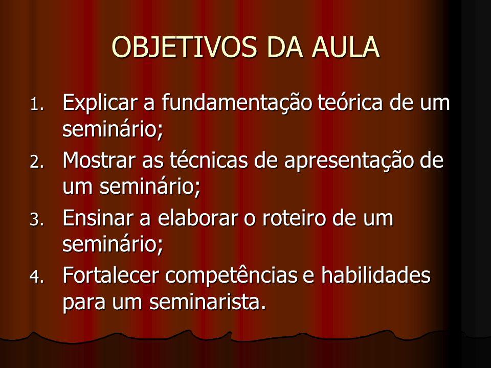 OBJETIVOS DA AULA Explicar a fundamentação teórica de um seminário;