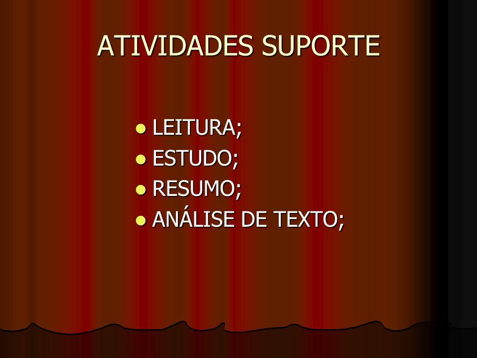 ATIVIDADES SUPORTE LEITURA; ESTUDO; RESUMO; ANÁLISE DE TEXTO;