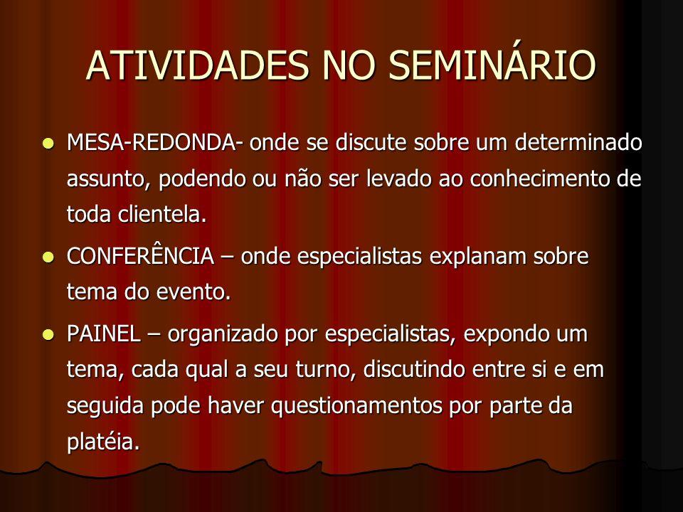 ATIVIDADES NO SEMINÁRIO