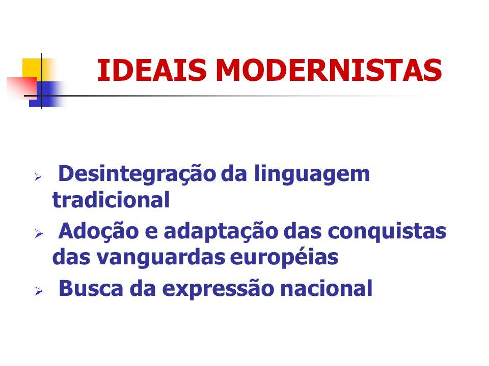 IDEAIS MODERNISTAS Desintegração da linguagem tradicional. Adoção e adaptação das conquistas das vanguardas européias.