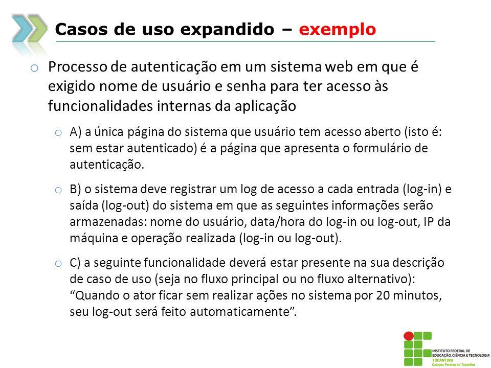 Casos de uso expandido – exemplo