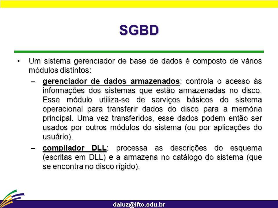 SGBD Um sistema gerenciador de base de dados é composto de vários módulos distintos: