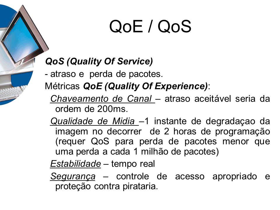 QoE / QoS QoS (Quality Of Service) - atraso e perda de pacotes.