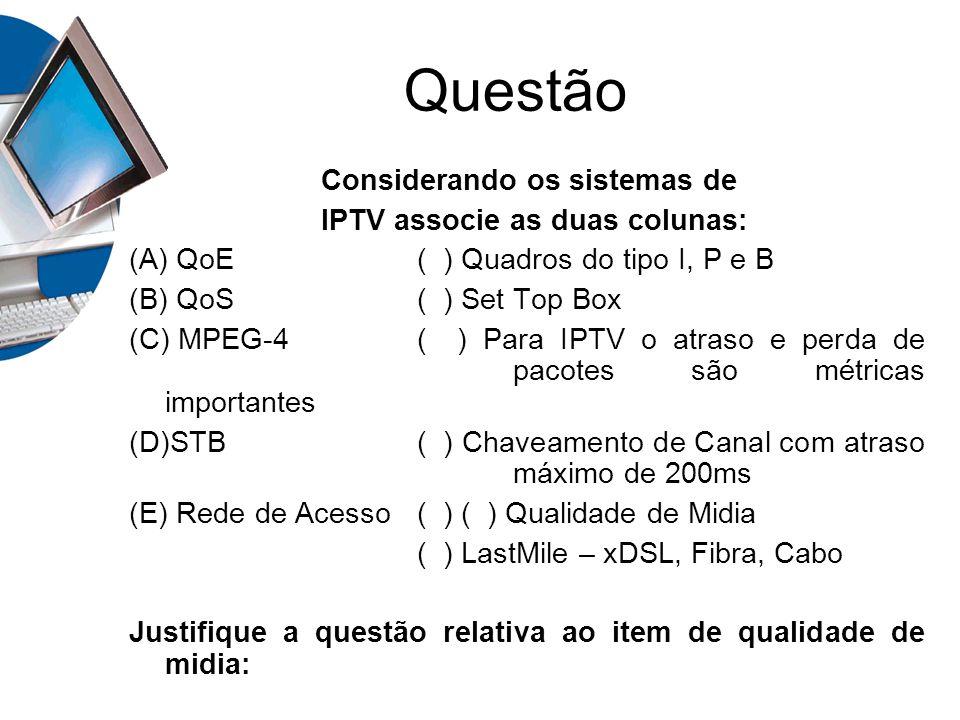Questão Considerando os sistemas de IPTV associe as duas colunas: