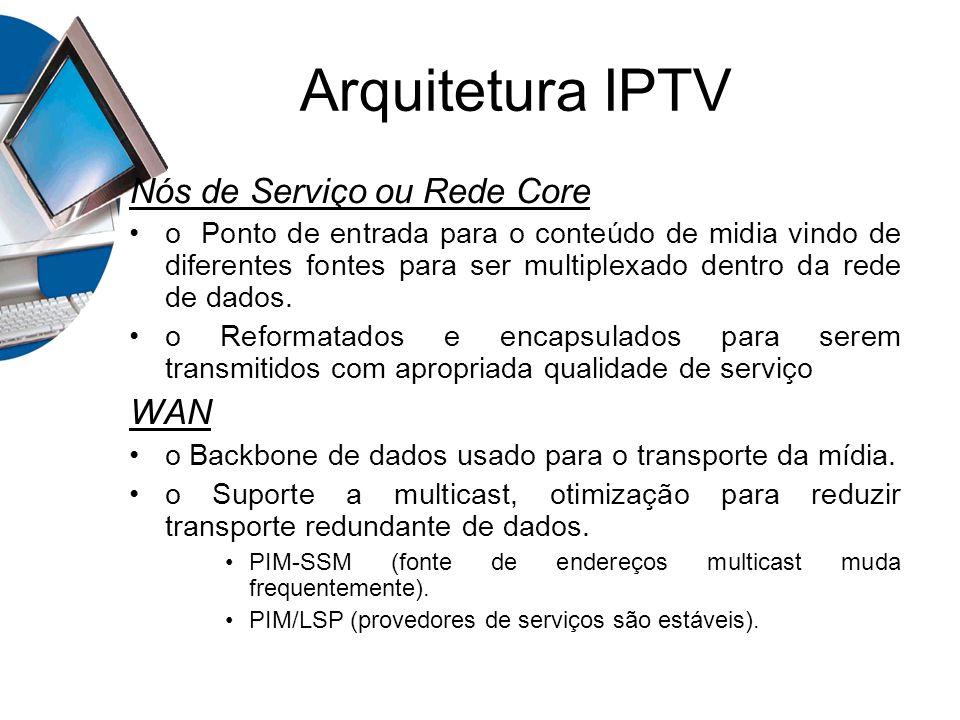 Arquitetura IPTV Nós de Serviço ou Rede Core WAN
