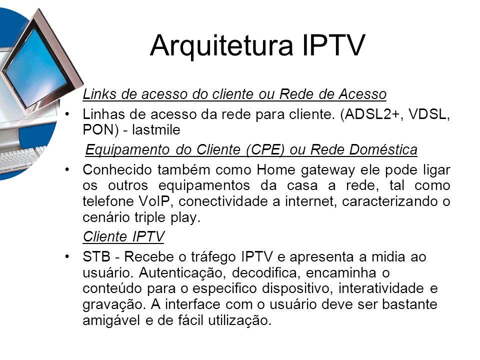 Arquitetura IPTV Links de acesso do cliente ou Rede de Acesso