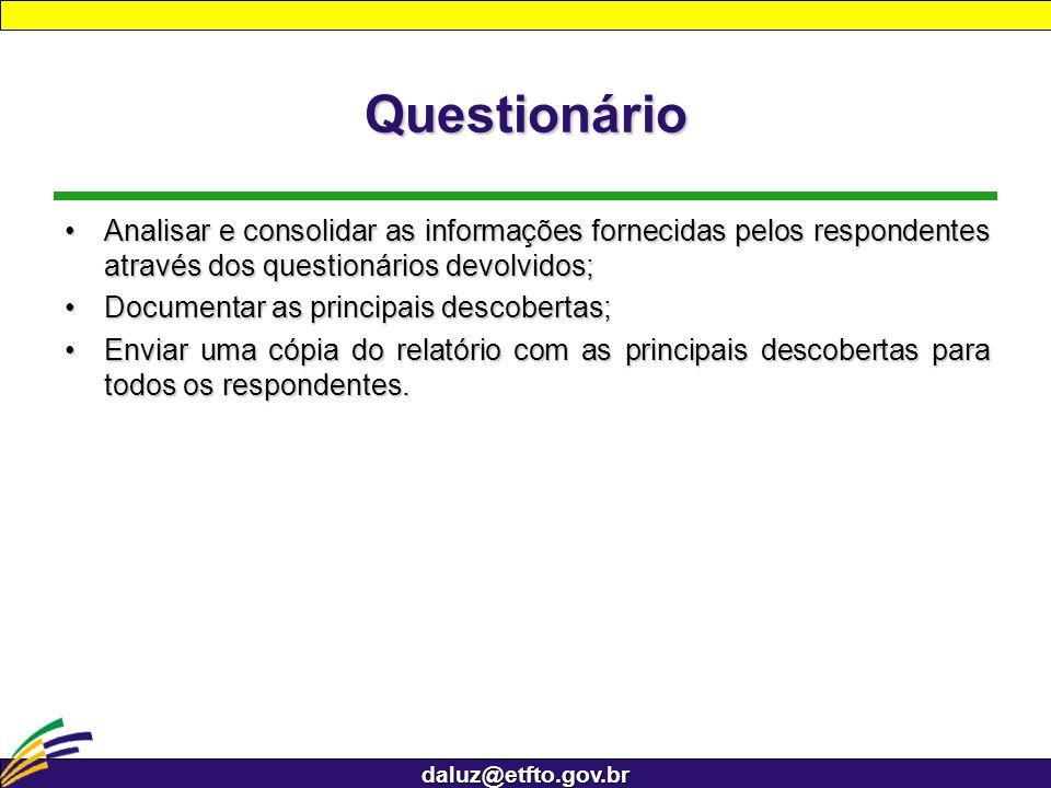 QuestionárioAnalisar e consolidar as informações fornecidas pelos respondentes através dos questionários devolvidos;
