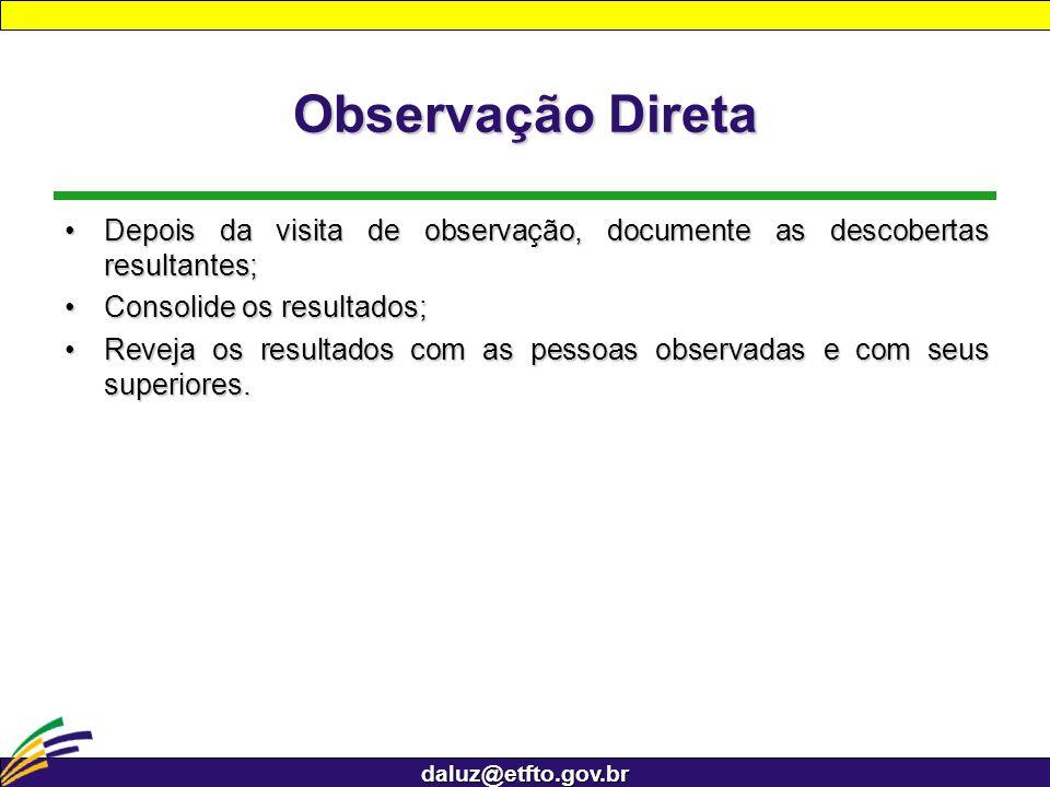 Observação Direta Depois da visita de observação, documente as descobertas resultantes; Consolide os resultados;