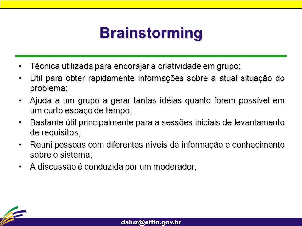 Brainstorming Técnica utilizada para encorajar a criatividade em grupo; Útil para obter rapidamente informações sobre a atual situação do problema;