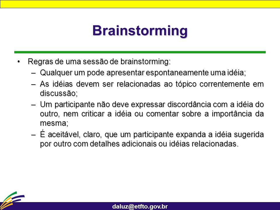 Brainstorming Regras de uma sessão de brainstorming: