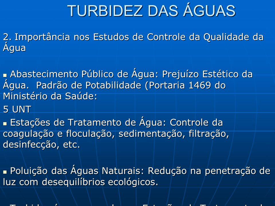 TURBIDEZ DAS ÁGUAS 2. Importância nos Estudos de Controle da Qualidade da Água.