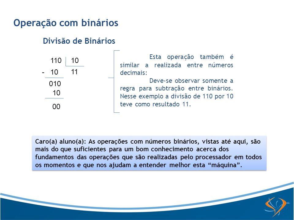 Operação com binários Divisão de Binários