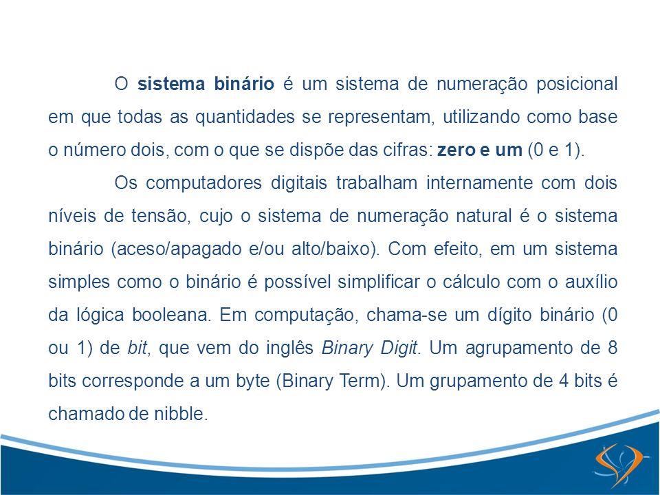 O sistema binário é um sistema de numeração posicional em que todas as quantidades se representam, utilizando como base o número dois, com o que se dispõe das cifras: zero e um (0 e 1).