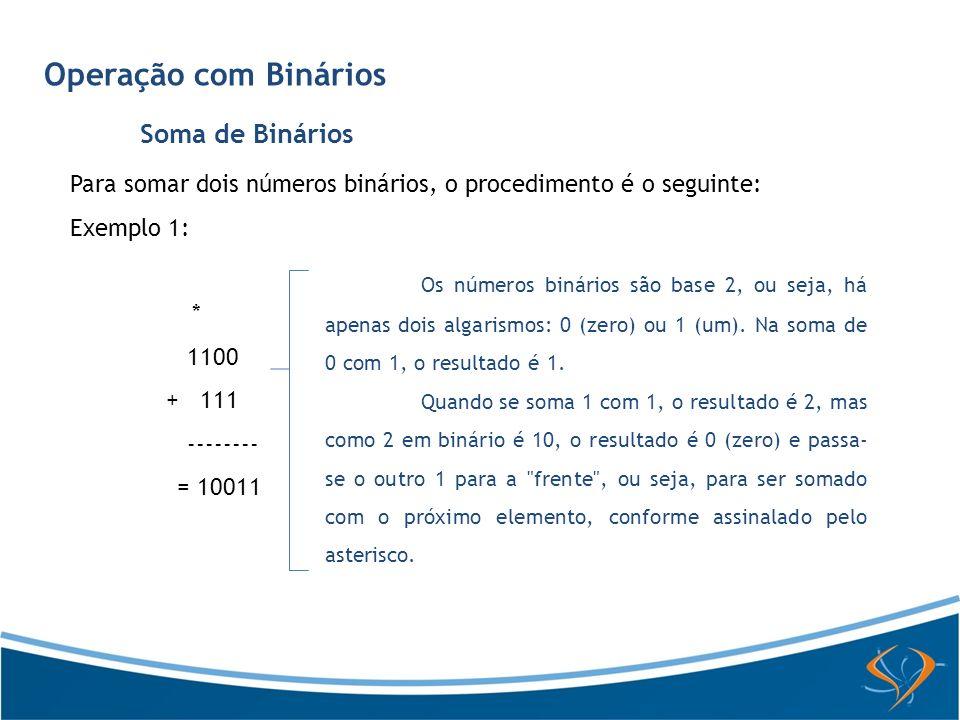 Operação com Binários Soma de Binários