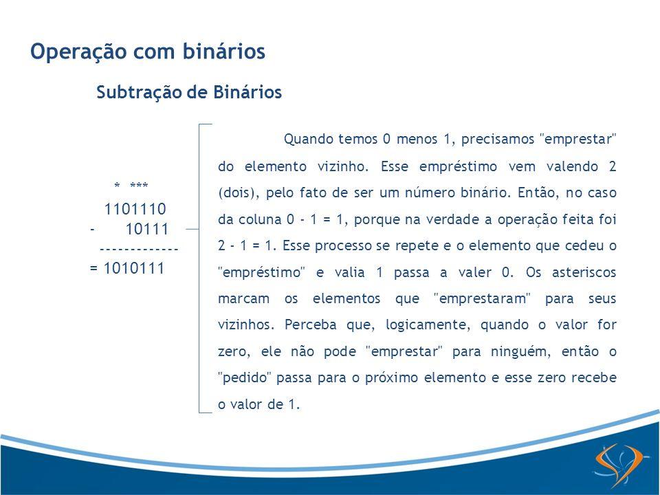 Operação com binários Subtração de Binários