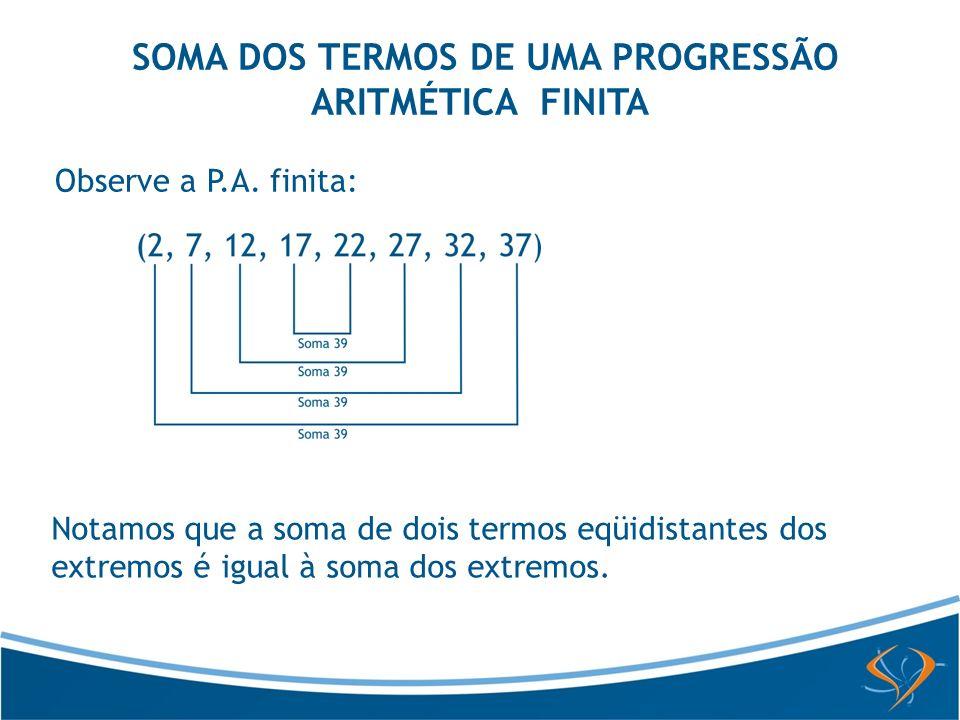 SOMA DOS TERMOS DE UMA PROGRESSÃO ARITMÉTICA FINITA