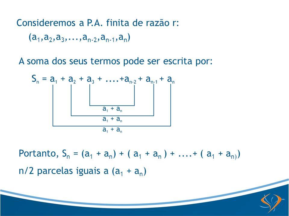 Consideremos a P.A. finita de razão r:
