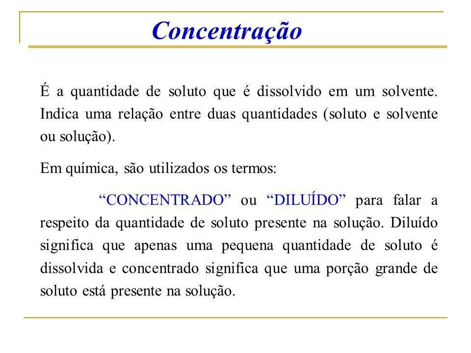 Concentração É a quantidade de soluto que é dissolvido em um solvente. Indica uma relação entre duas quantidades (soluto e solvente ou solução).