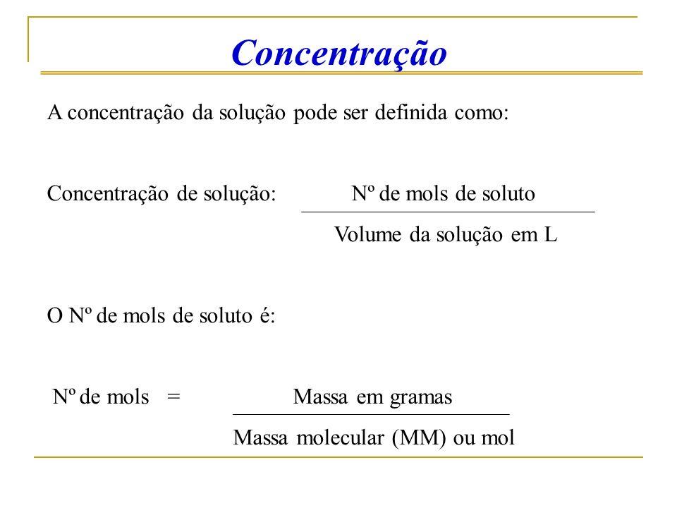 Concentração A concentração da solução pode ser definida como: