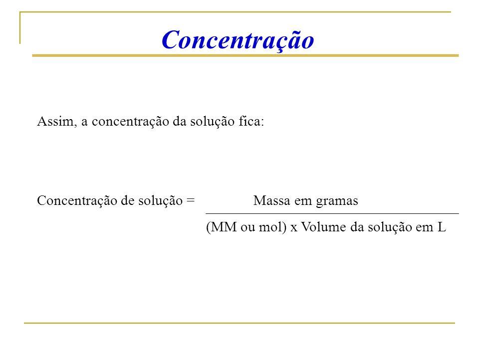 Concentração Assim, a concentração da solução fica: