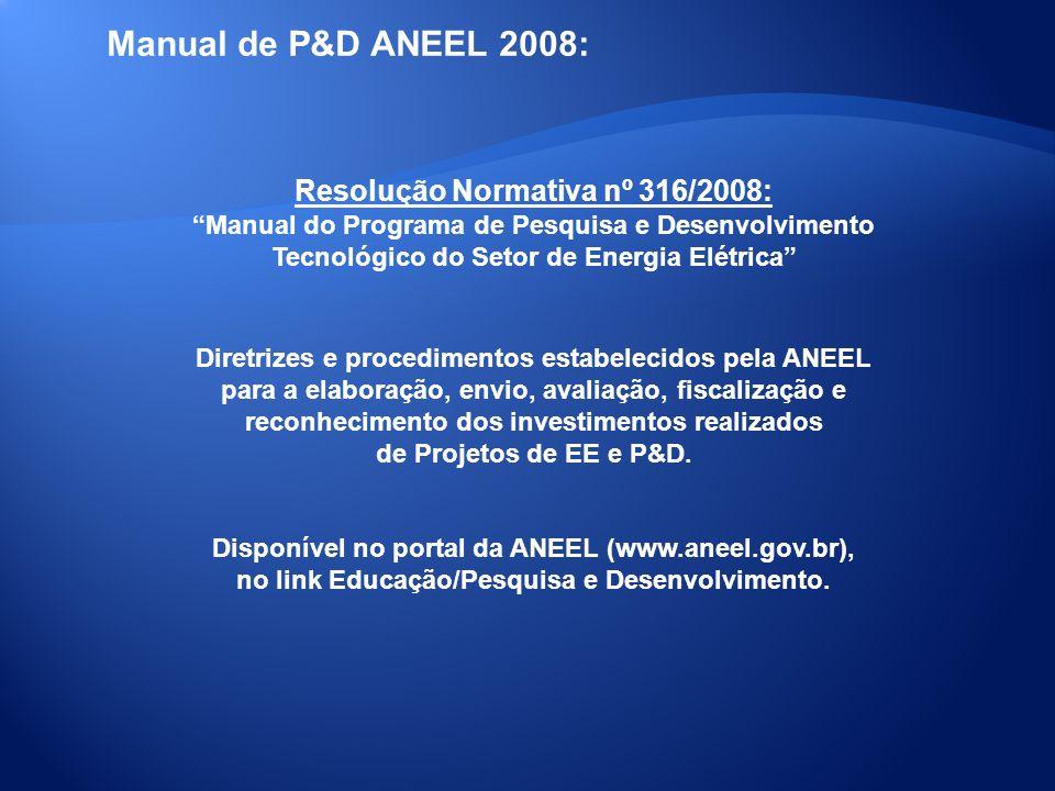 Manual de P&D ANEEL 2008: Resolução Normativa nº 316/2008: