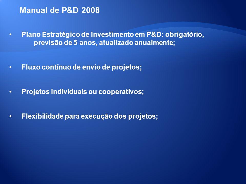 Manual de P&D 2008 Plano Estratégico de Investimento em P&D: obrigatório, previsão de 5 anos, atualizado anualmente;