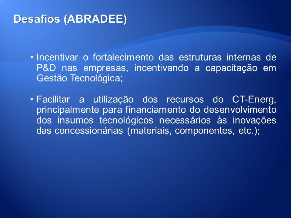 Desafios (ABRADEE) Incentivar o fortalecimento das estruturas internas de P&D nas empresas, incentivando a capacitação em Gestão Tecnológica;