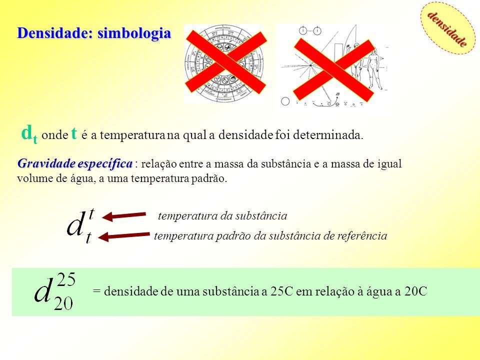 dt onde t é a temperatura na qual a densidade foi determinada.