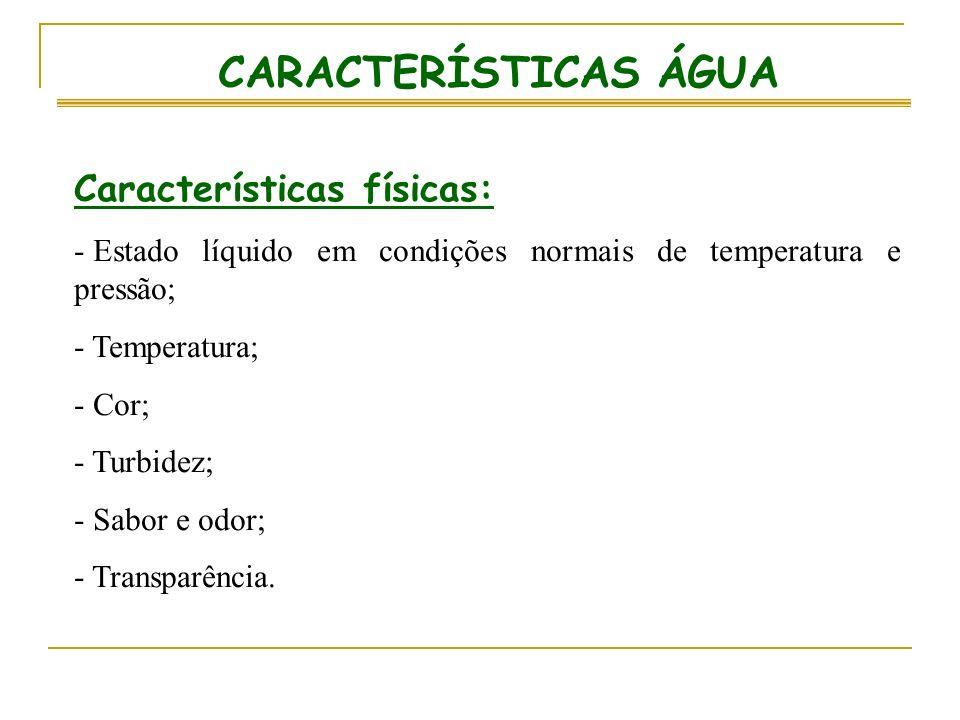 CARACTERÍSTICAS ÁGUA Características físicas: