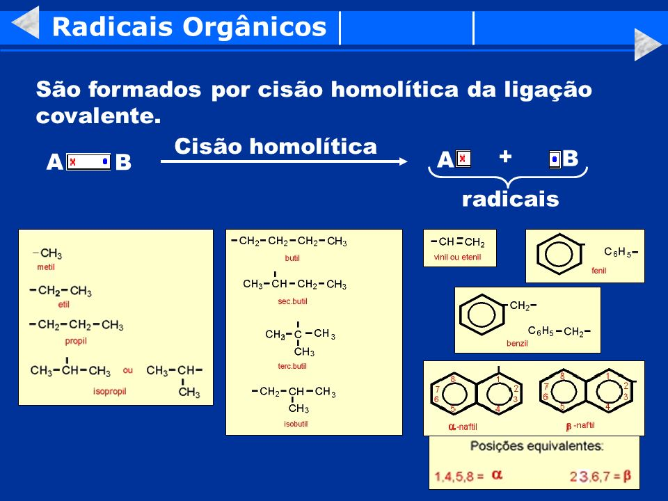 Radicais Orgânicos São formados por cisão homolítica da ligação covalente. Cisão homolítica. A. B.