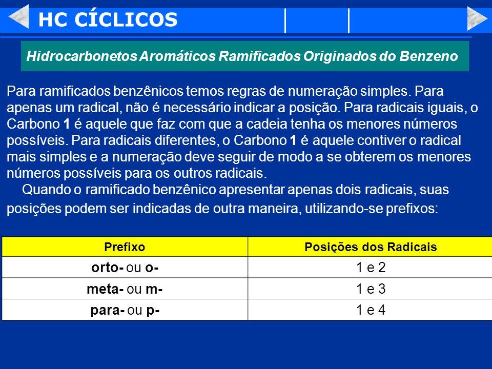 HC CÍCLICOS Hidrocarbonetos Aromáticos Ramificados Originados do Benzeno.