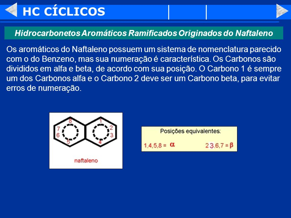 Hidrocarbonetos Aromáticos Ramificados Originados do Naftaleno
